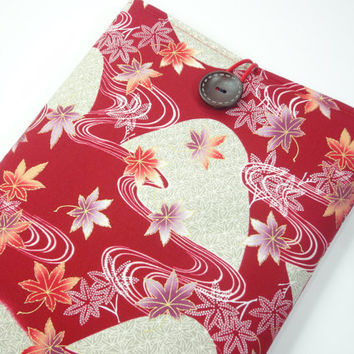 "11"" Macbook Air Case, Fabric Macbook Covers, Gift For Her, Japanese Kimono Cotton Fabric Maple Leaves Red"