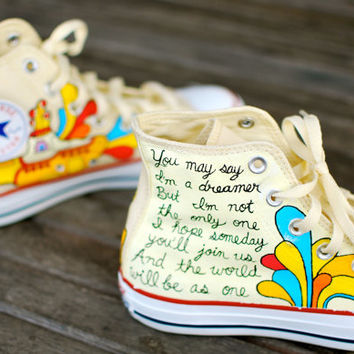 Hand Painted Yellow Submarine Beatles Hi Top White Converse Chuck Taylor All Star Sneakers