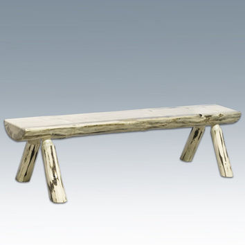 Montana Woodworks Half Log Bench in Clear Lacquer