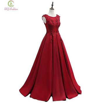 SSYFashion New Luxury Red Evening Dress The Bride Married Satin Lace Flower Floor-length Party Gown Sexy Sleeveless Prom Dresses
