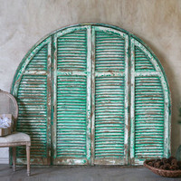 Vintage Arched Gorgeous Shutters in Distressed Green and Cream - $2495 - The Bella Cottage
