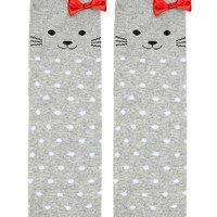 Cat Print Polka-Dot Crew Socks
