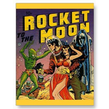 Sci Fi Vintage Comic Book Cover Art Postcard from Zazzle.com