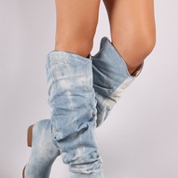 Slouchy Denim Pointy Toe Western Knee High Boots