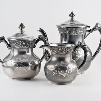 Valentine Linsley Silver Tea Service Set, Pattern 65, Antique Silverplate