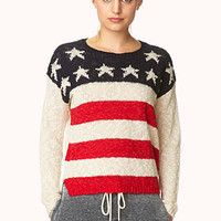 FOREVER 21 Standout Americana Sweater Beige/Navy