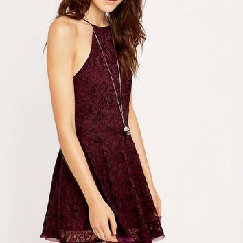 Kimchi Blue Loraine Burgundy Lace Dress - Urban Outfitters