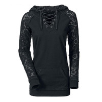 Women Lace Up Tops V Neck Lace Hooded Sweatshirt Hoodies