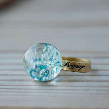 Pressed Flower Ring, Stamp Band, Resin Ring, Blue Dry Flower Ring, Glass Dome Ring - Blue Fairy