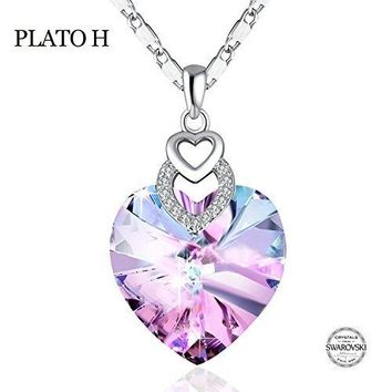 """[ Gift Packaging ] Heart Necklace PLATO H """"Brave Heart"""" Crystal Necklace Heart Shape Necklace Love Heart Necklace with Swarovski Crystal,Purple/Ocean Blue"""