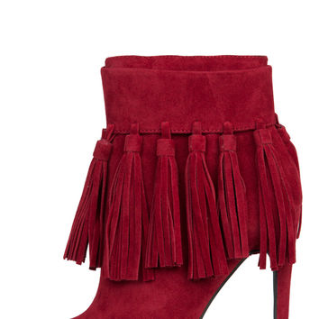 Privileged Cortez Fringe Booties (Wine)