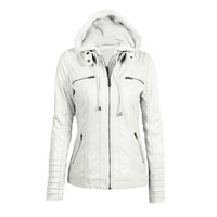White Faux Leather Hooded Zippered Hoodie Motorcycle Jacket Coat
