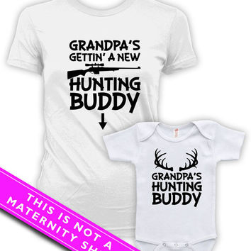 Matching Mommy And Me Clothing Pregnancy T Shirt Grandpa's Hunting Buddy Baby Bodysuit Matching Family Shirts Maternity Clothes MAT-596-597