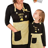 Manual Woodworkers Queen Bee & Busy Bee Mommy & Me Apron Set with Coloring Book