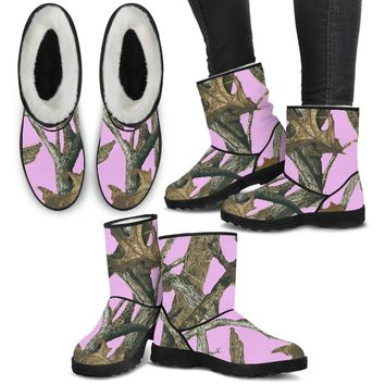 Faux Fur Boots in Pink Camo