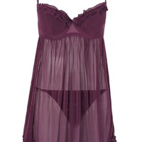 Piper Purple Underwired Ruffle Baby Doll Set