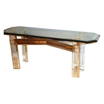 Pre-owned Lucite Console Table, By Charles Hollis Jones