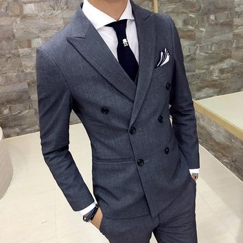 mens blazers coat british style double breasted slim thin male casual gray double breasted suit coat