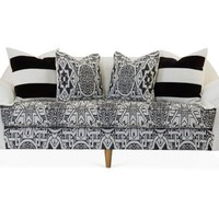 "Annelise 84"" Sofa, Black/Cream"