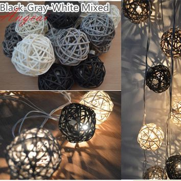 20pcs/sets black gray white mixed Handmade Rattan Wicker Balls String Lights Fairy Party Garland Patio Decor Night  lamp
