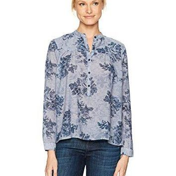 Lucky Brand Women's Floral Chambray Top