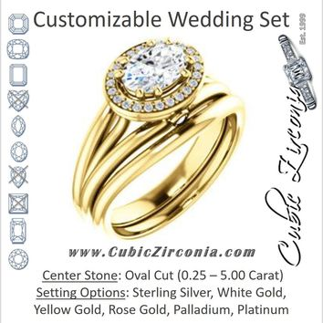 CZ Wedding Set, featuring The Wanda Lea engagement ring (Customizable Oval Cut Halo-style with Ultrawide Tri-split Band & Peekaboo Accents)