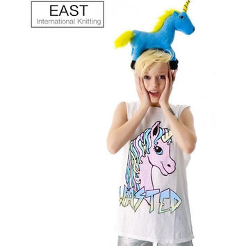 EAST KNITTING F1453 NEW FASHION UNICORN PRINTED WOMEN T-SHIRTS SEXY TOPS SLEEVELESS CASUAL TOP