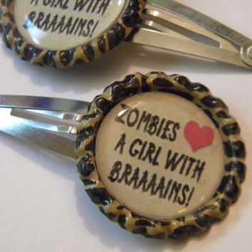 Zombie love bottle cap barrettes
