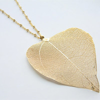 "Gold Necklace - Real Leaf Long Necklace - 26"" - Large Real Leaf on Matte Gold Chain"