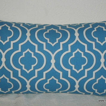 Decorative-Accent-Throw Pillow Cover-Free US Shipping-12 x 22 inch Geometric Quatrefoil Teal and White