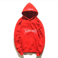Autumn and winter tide brand Vetements hooded coat men and women loose lovers sweater Red