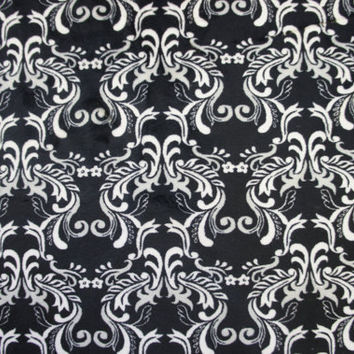 MINKY, Black and White Damask Fabric, 1 Yard, Minkee,