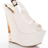 Glamourous Amour Gold Plate Platform Wedge Sandals - White
