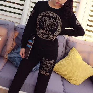 """Kenzo"" Women Sport Casual Fashion Diamond Tiger Head Letter Pattern Long Sleeve Trousers Set Two-Piece Sportswear"