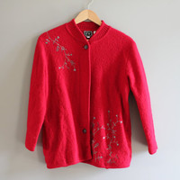Franco Valeri sharp red knitted  jacket/cardigan 100% wool embroidery accent size s-m