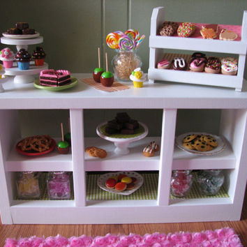 "Bakery Counter with Cupcake Stand/Donut/Cookie Display - Sweet Shop Cafe/Bakery Set for American Girl/18"" dolls - MAY 2014 SHIP ONLY"
