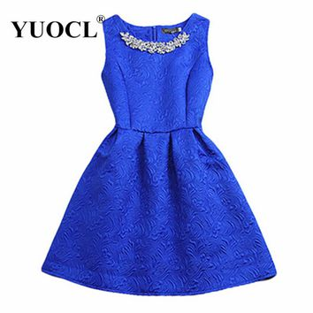 Size S-2XL 2017 New Spring Summer Autumn Women O-neck Sleeveless Solid Color Appliques Ball Gown Base Dresses Vestidos Sundress