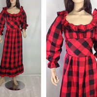 60s 70s Anne Fogarty Empire Waist Maxi Dress Steam Punk Grunge Prom Dress Buffalo Plaid Maxi Red Prom Dress Taffeta Gown s small m medium