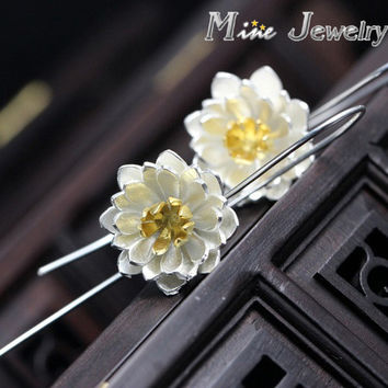 Fashion Plata 925 Silver Drop  Earrings Lotus Flower Earrings Jewelry Pendientes Brincos Fashion Jewelry