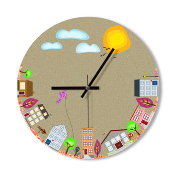 Wall clock cartoon village doodle home decoration children baby room clock funny clock colorful wall clock cartoon house wall clock