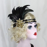 Black Feather Headband - 1920's Flapper Costume - Gold Headband - Great Gatsby Headpiece - Feather Fascinator - Prom Hair Accessory