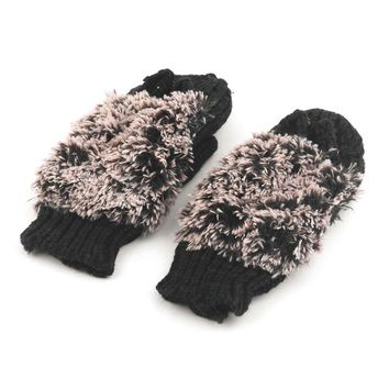 2017 Girls Fashion Novelty Winter Warm Outdoor Indoor Full Finger Double Layer Gloves Woman Cartoon Hedgehog Plush Mittens