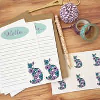 Floral cat stationery set