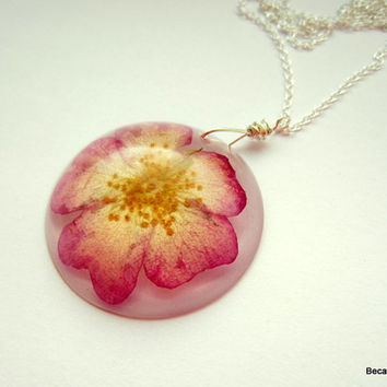Real Flower Resin Necklace, Pressed Flower Pendant, Ballerina Rose Necklace, Pink Rose, Dried Flower Jewelry, Sterling Silver