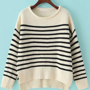 Black and Beige Striped Knit Sweater with Side Slits