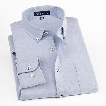 High Quality Men's Oxford Social Shirts Classic Solid Color Casual Shirts Male Formal Business Shirt