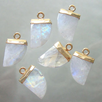 Natural Moonstone Horn Pendant, Small Horn Pendant, Gold Electroplated Horn Pendant, CP-0011