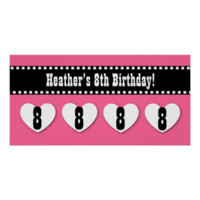 8th Birthday Pink Black Hearts Banner Custom V07 Print