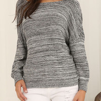 Gray Wrap Back Stripe Knitted Sweater