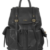 Topshop 'Edinburgh' Faux Leather Backpack - Black